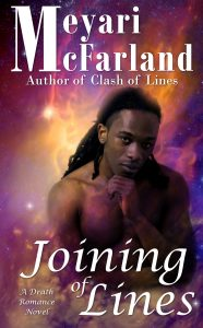 Cover of Joining of Lines featuring a beautiful black man staring at you with a background of a nebula behind him.